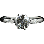 Antique Edwardian Platinum Diamond Ring - 1.20ct Engagement Ring