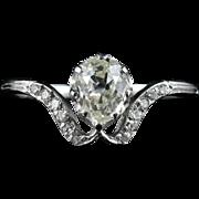 AntiqueDiamond Ring - 1ct Solitaire Diamond - Engagement Ring