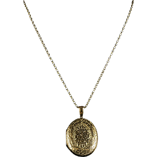 Antique Victorian Large Gold Locket & Chain - 1880