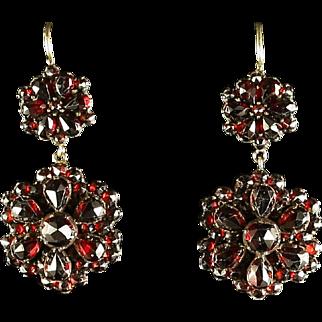 Antique Victorian Garnet Earrings - Gold -  Circa 1900