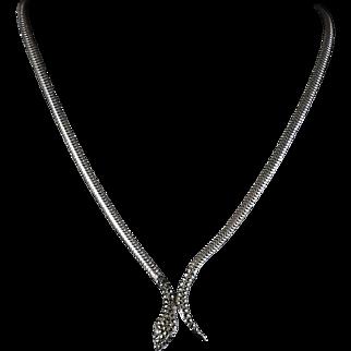 Antique  Silver Serpent Necklace - Marcasite Head