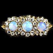Antique Victorian Opal & Diamond Trilogy Ring - Circa 1880
