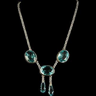 Antique Victorian Blue Paste Necklace - Circa 1900