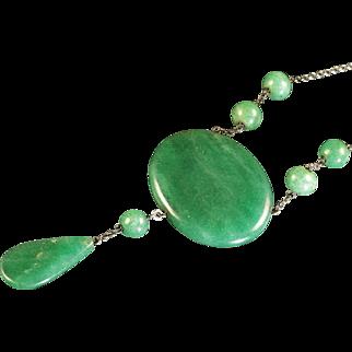 Antique Silver Jade Necklace - Art Deco Long Silver Necklace 1920