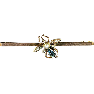 Antique Victorian Insect Brooch Boxed Bug Brooch Aquamarine & Pearl