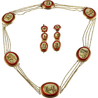 Antique Victorian Micro Mosaic Necklace And Earrings Set 18ct Gold