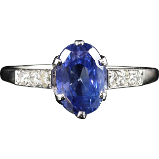 Antique Edwardian Natural Sapphire & Diamond Ring 2.71ct Sapphire