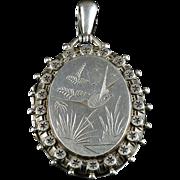 Antique Victorian Silver Locket - Dated 1884