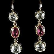 Antique Paste Earrings Pink White Paste Earrings Silver Gold