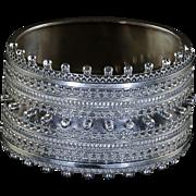 Antique Silver Bangle Silver Cuff Wide Bangle Circa 1880