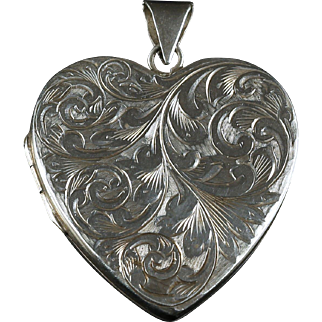 Heart Silver Locket Large Dated Birmingham 1973 Engraved