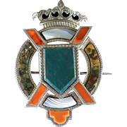 Antique Victorian Silver Scottish Brooch Crown And Shield Circa 1860