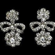 Antique Georgian Paste Earrings Bow Silver Earrings