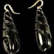 Antique  Victorian Whitby Jet Earrings Long Carved Earrings 1860