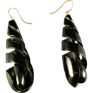 Antique  Victorian Whitby Jet Earrings Long Carved Earrings 1860