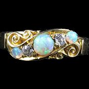 Antique Victorian Opal Diamond Ring 18ct Gold Chester Hallmark