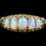 Antique Victorian Opal Ring Five Stone Circa 1880