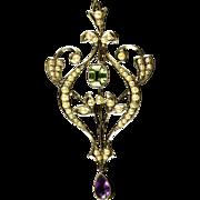 Antique Victorian Suffragette Pendant Gold Peridot Amethyst Pearls Circa 1900