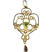 Antique Victorian Suffragette Gold  Pendant Peridot Amethyst Pearls Circa 1900