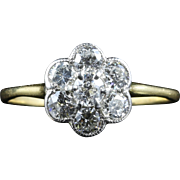 Antique Edwardian Diamond Cluster Ring Circa 1915
