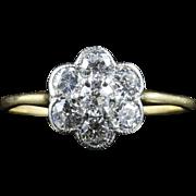 Antique Edwardian Diamond Cluster Ring Circa 1915