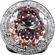 Morganite Diamond Ring Fabulous Large Ring 14k