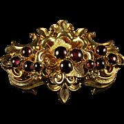 Antique Victorian Garnet Locket Brooch Circa 1880