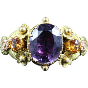 Georgian Amethyst Citrine Gold Ring 18ct Gold Circa 1780