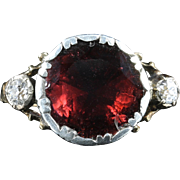 Antique Georgian Garnet Diamond Ring 18ct Gold Flat Top Garnet