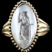 Antique Georgian Sepia Ring Lady Figure 18ct Gold 18th Century