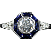 Art Deco Diamond Sapphire Ring 18ct White Gold Engagement Ring