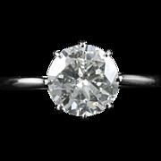 Antique Diamond Solitaire Ring 2.30ct Platinum Engagement Ring