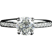 Antique Edwardian Diamond Solitaire Engagement Ring Platinum 1.30ct