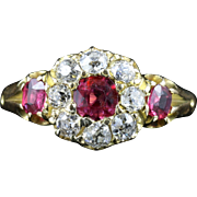 Victorian Ruby Diamond Engagement Ring Circa 1880