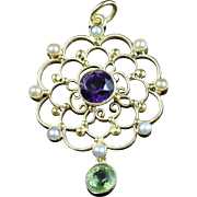 Antique Victorian Suffragette Gold Pendant Amethyst Peridot Pearl Circa 1900