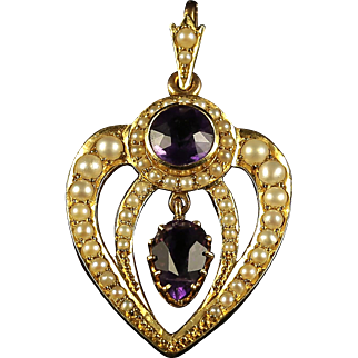 Antique Victorian Amethyst Pearl Pendant 18ct Gold