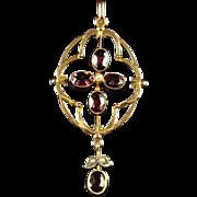 Antique Victorian Garnet Pearl Pendant Almandine Garnets Circa 1880