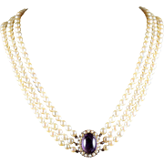 Antique Victorian Pearl Necklace Triple Pearl Amethyst Clasp