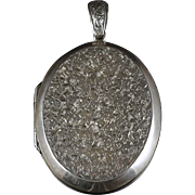 Antique Victorian Silver Locket Forget Me Not Large Locket 1880