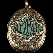 Antique Gold Mizpah Locket Lovely Enamel Detail Original Photos