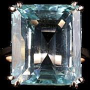 Antique Art Deco Aquamarine Gold Ring 30ct Aquamarine Emerald Cut