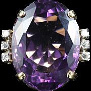 Antique Art Deco Amethyst Diamond Ring 18ct Gold Circa 1960