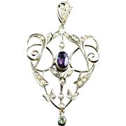 Antique Victorian SuffragettePendant 9ct Gold Amethyst Peridot Pearl