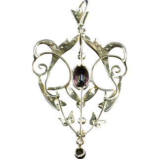 Antique Victorian Suffragette Pendant 9ct Gold Amethyst Peridot Pearl