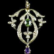 Antique Victorian Suffragette Pendant 18ct Gold Amethyst Peridot Pearl