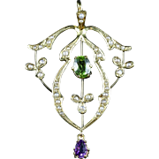 Antique Victorian SuffragettePendant Amethyst Peridot Pearl 9ct Gold