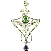 Antique Victorian Suffragette Pendant 9ct Gold Peridot Amethyst Pearl