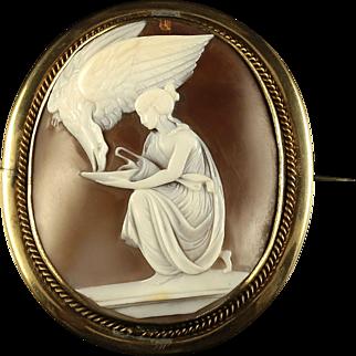 Antique Victorian Hebe Shell Cameo Brooch Gold Circa 1860