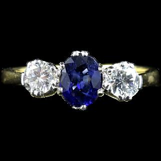 Diamond Sapphire Ring Trilogy 18ct Gold