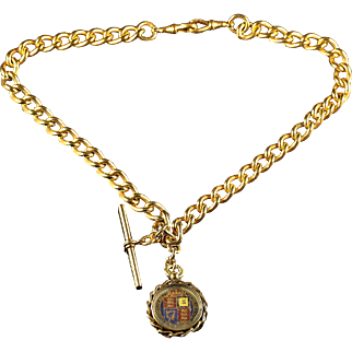 Antique Victorian Albert Chain Necklace With T Bar And Queen Victorian Coin Fob 109 Grams